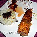 Pavé de saumon sauce satay/ soja/ curcuma accompagné de riz thaï