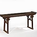 Grande table <b>qiaotou</b>'<b>an</b> en orme pourpre, Chine, dynastie Qing, XVIIIe siècle