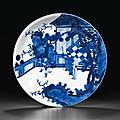 A large blue <b>and</b> white dish, <b>Kangxi</b> <b>six</b>-<b>character</b> <b>mark</b> in underglaze blue within a double circle <b>and</b> <b>of</b> <b>the</b> <b>period</b> (<b>1662</b>-<b>1722</b>)