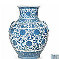 A blue and white vase, hu, qianlong seal mark, late qing dynasty-republic period