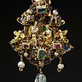 Gold enamelled pendant of 'architectural' form, probably Netherlandish (Antwerp), or <b>German</b>, 1550-1575