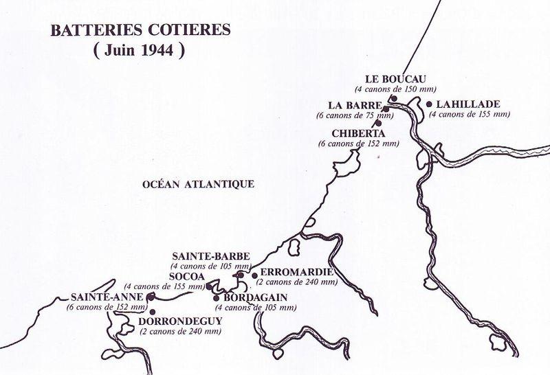 Batteries côtières dans le sud-ouest