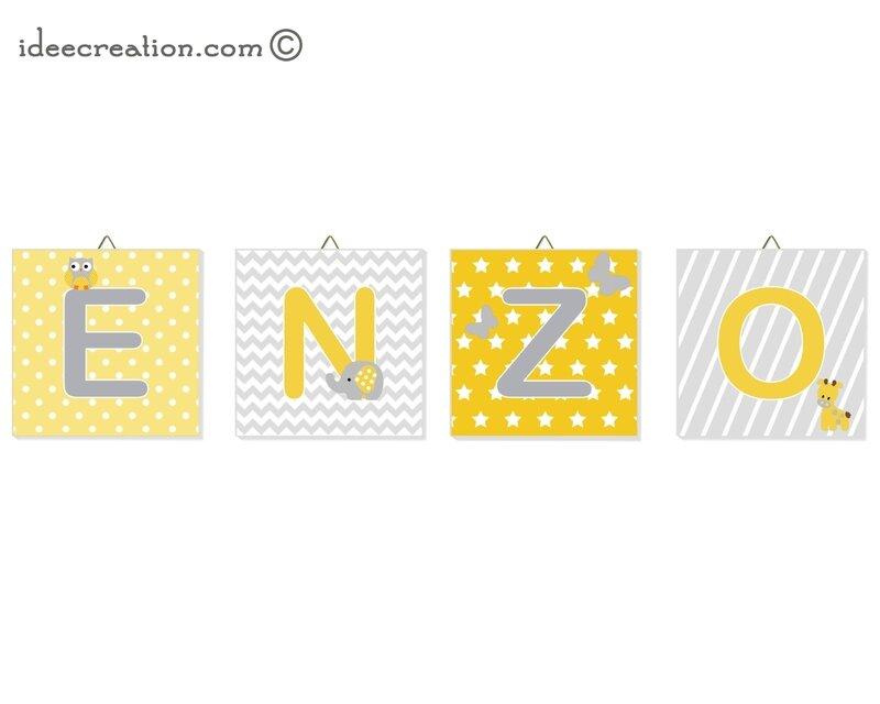 Cadre Lettres prenom ENZO
