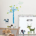 Sticker chambre garçon - la forêt bleue - Abigail Brown - Poisso