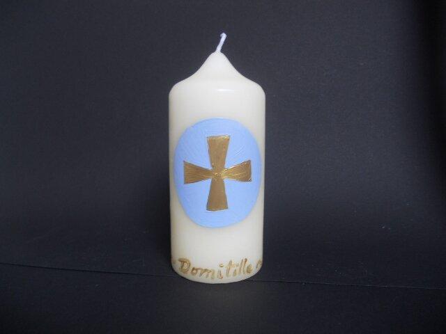 Cierge croix bleue