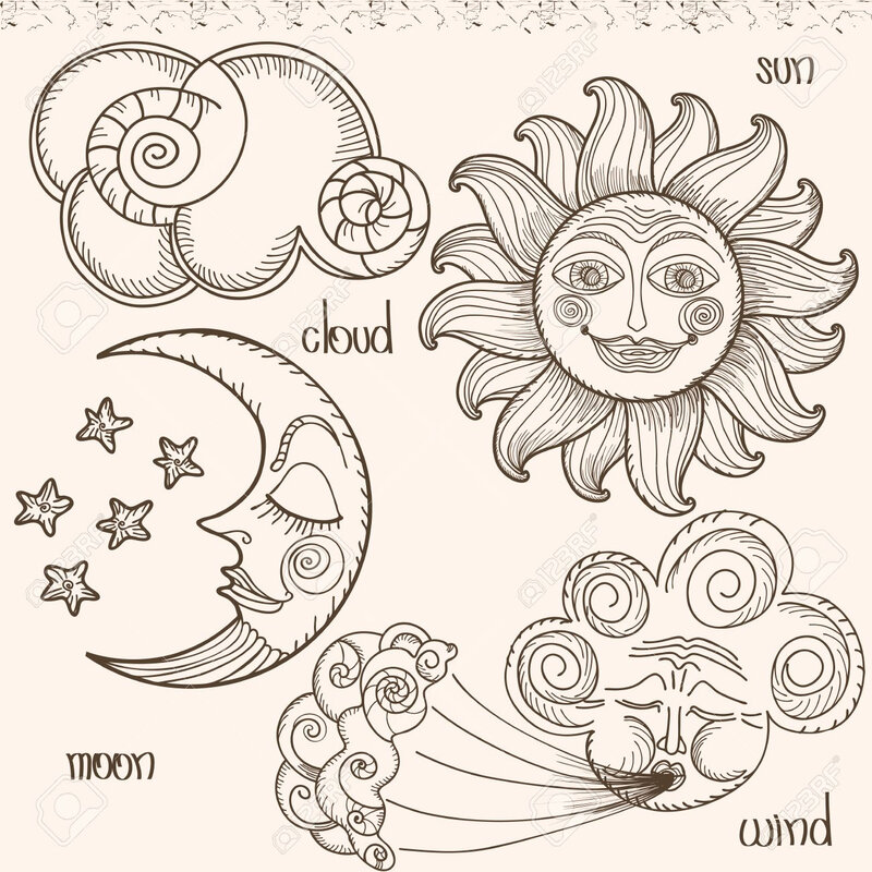 28462295-image-of-the-sun-moon-wind-and-clouds-hand-drawing-imitation-of-old-engravings