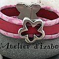 Pour fêter le printemps revenu aujourd'hui ! Un <b>bracelet</b> cuir et liberty à fleur rose avec une fleur et un fermoir papillon !