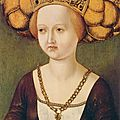 Master unknown, Austrian (14-15th century); Portrait of Kunigunde of Austria c. <b>1485</b>. Oil on panel, 46 x 32 cm. Fundación Colecc