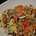 Omelette poivron - champignons