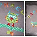 <b>Couverture</b> <b>polaire</b> grise motif petit hibou coloré