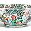 A large famille-verte punch bowl, qing dynasty, kangxi period