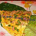 Omelette aux pommes de terre, au jambon & aux petits pois