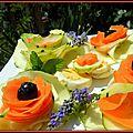 Fleurs de légumes courgettes, carottes à l'huile de noisette