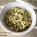 Riz végétarien aux lentilles et oignons ( 425 cal/par personne)
