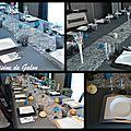 Deco de table argent blanche et bleue
