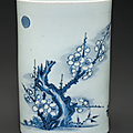 A dated blue and white brush pot, Shunzhi period, dated 1654 2