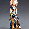 A blue and amber-glazed pottery figure of a seated lady, Tang dynasty (618-907), Collection of the Nezu Museum