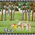 Krishna and Balarama defeating the Demon Dhenukasura. Folio from a Bhagavata Purana. India, school of <b>Kangra</b>, circa 1830-1840