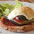 Bruschetta à l'aubergine confite et mozarella