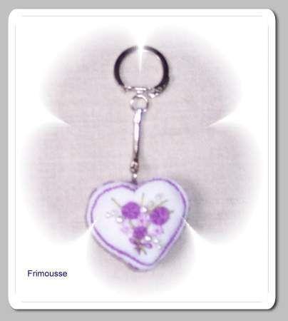 Porte clef coeur '' Frimousse''