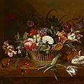 <b>Jacob</b> <b>Marrel</b> (1614-1681), Corbeille de fleurs posée sur un entablement avec papillon et insecte