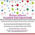 <b>Boutique</b> éphémère Planète des <b>Créateurs</b> : J- 3 semaines
