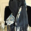 Etole, foulard, cheche ou chale mousseline bleu en dégradés + pashmina