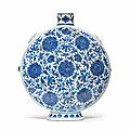 A rare and large blue and white 'peony' moonflask, bianhu, <b>18th</b> <b>century</b>