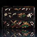 A superb and extremely rare <b>silver</b>-inlaid and stone and mother-of-pearl inset 'golden' zitan three-part stacking box, attributed