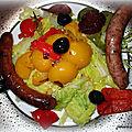 Chou chinois/poivrons aux merguez/chipolatas cuisson vapeur, sans gras