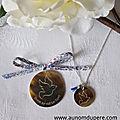 Ensemble médaillon colombe en nacre (22 €) et collier colombe en nacre sur chaîne argent massif fine (27 €)