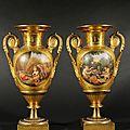 Paris. paire de vases de forme balustre en porcelaine doré à deux tons d'or mat et bruni. époque empire