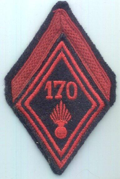 170e RI losange de bras de soldat de première classe appelé