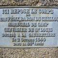 Tombe de Jean-Félix Clabat du Chillou, détail d'une plaque funéraire