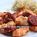 Crevettes poêlées au chorizo