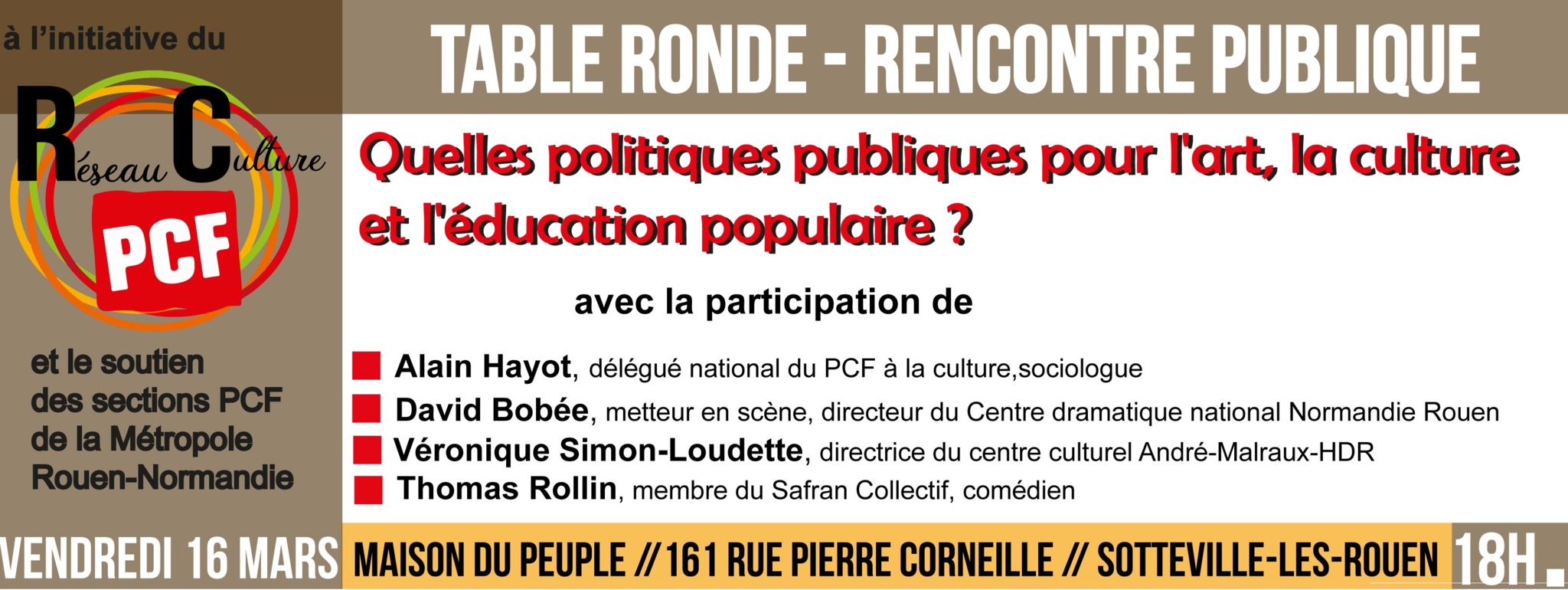 L'art, la culture, l'éducation populaire en débat à Sotteville, le vendredi 16 mars