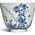 A blue and white 'Chrysanthemum' 'Month' cup, Kangxi mark and period (1662-1722)