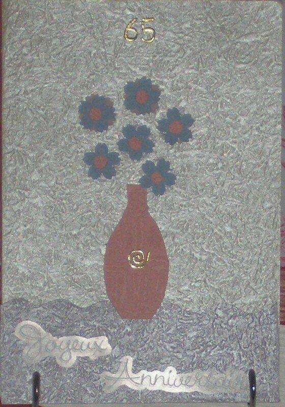 carte annif fleur bleu
