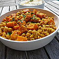 Curry de patate <b>douce</b> aux pois chiches et lait de coco