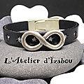 Bracelet mixte homme-femme en cuir noir étoile argenté et passant infini