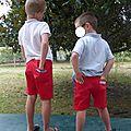 Duo de bermudas rouges étoilés pour mes fils