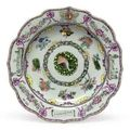 Portuguese market armorial soup plate, circa 1765, platter, circa 1775 & vegetable tureen and cover, circa 1805