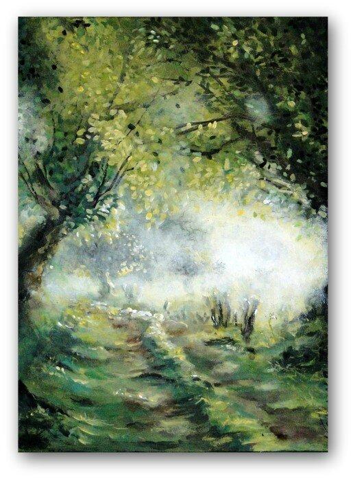 beau tableau campagne paysage aurore aube lumière matin brume Valérie Albertosi mini