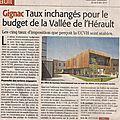 Conseil Communautaire Vallée d'Hérault: budgets et taxes votés le 28 avril 2014