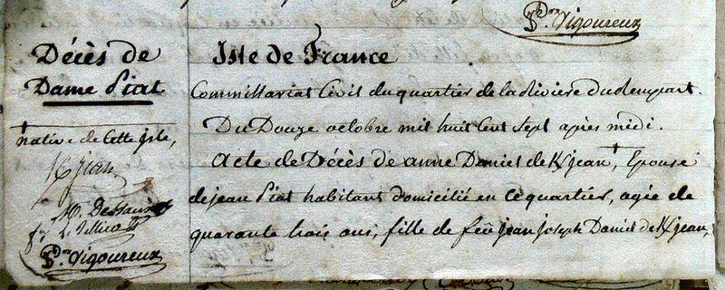 DANIEL DE KERJEAN Anne_Décès 1807_Rivière du Rempart - Mauritius