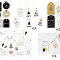 Une sélection de jolies <b>étiquettes</b> (certaines sont gratuites) en noir, blanc et or...