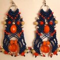 bo macramé fil bleu orange