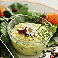 Purée de floraline à la truite fumée........sur son lit de salade aux graines...