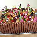 Gâteaux mouton, coccinelle et jardinière de fleurs pour fêter 5 ans
