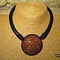 médaillon mokumé bordeau et or signé